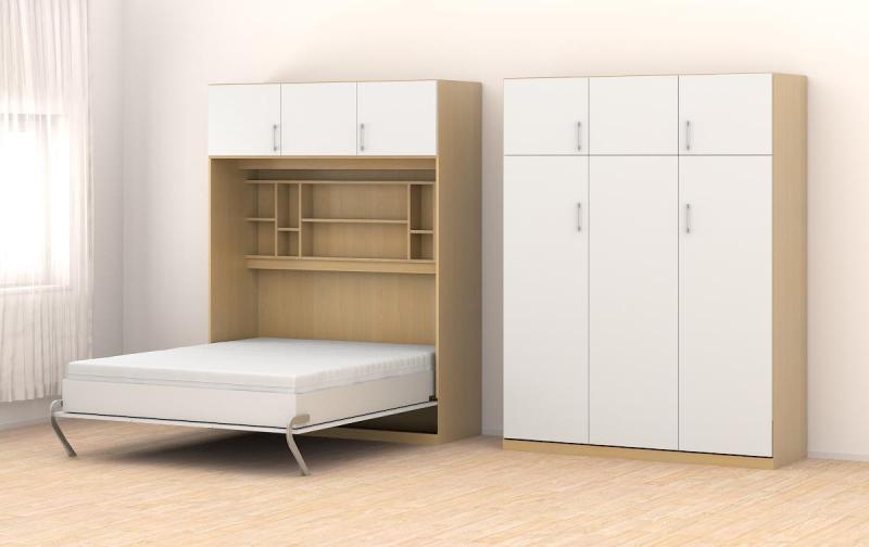 schrankbett 160x205cm vertikal mit aufsatzschrank b566 schrankbett. Black Bedroom Furniture Sets. Home Design Ideas