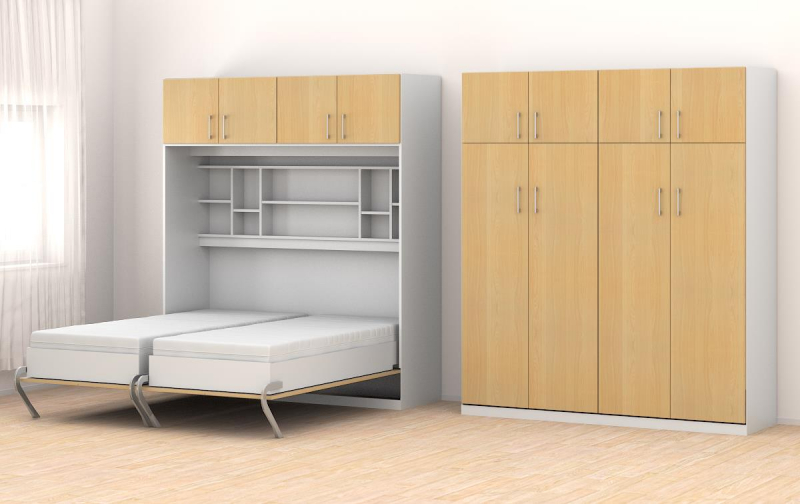schrankbett 160x205cm vertikal mit aufsatzschrank b571 schrankbett. Black Bedroom Furniture Sets. Home Design Ideas