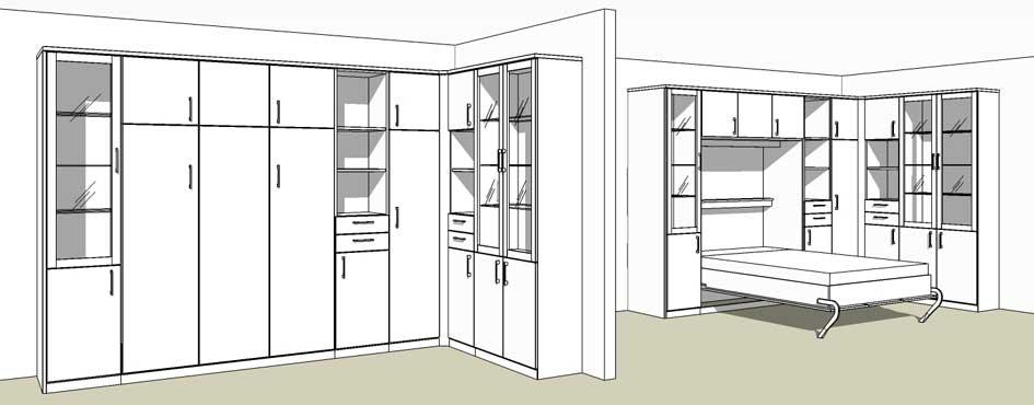 Schrankwand mit bettfunktion schrankbett for Wohnzimmer planer