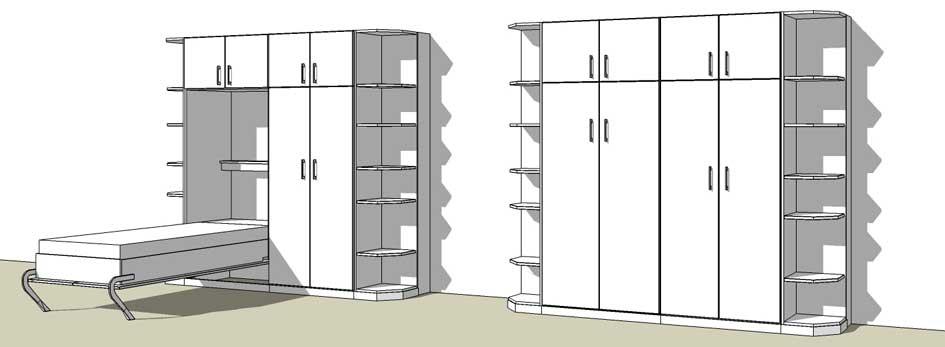 Wohnwand mit Schrankbett - schrankbett-planer.de